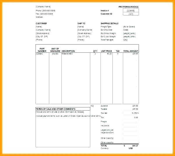 Editable Commercial Invoice Template Excel