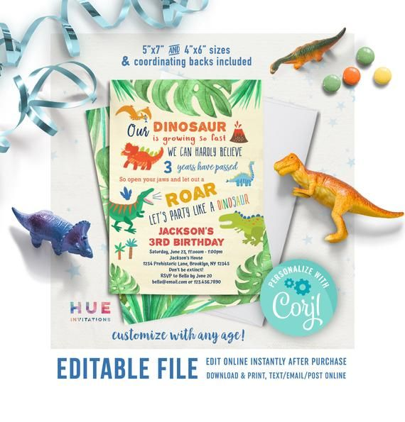 Editable Dinosaur Invitation Template