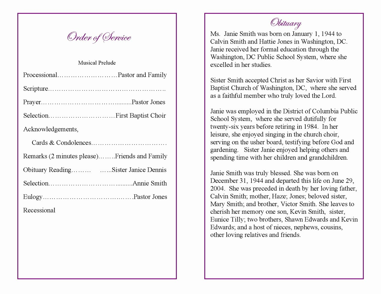 Editable Free Blank Funeral Program Templates