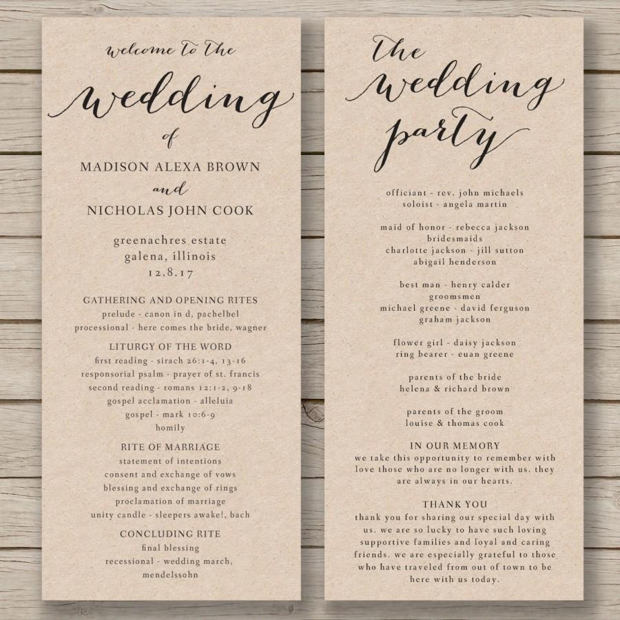 Wedding Program Template Printable Wedding Program Diy Editable Free Printable Wedding Program Templates Word