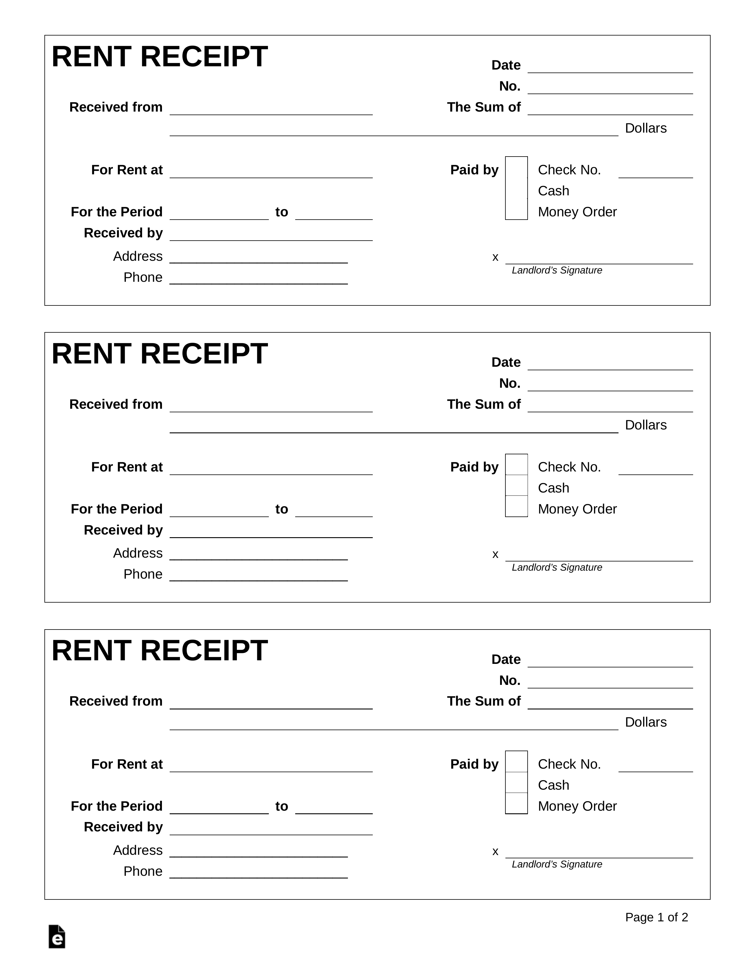 Editable Free Rent Receipt Template Pdf