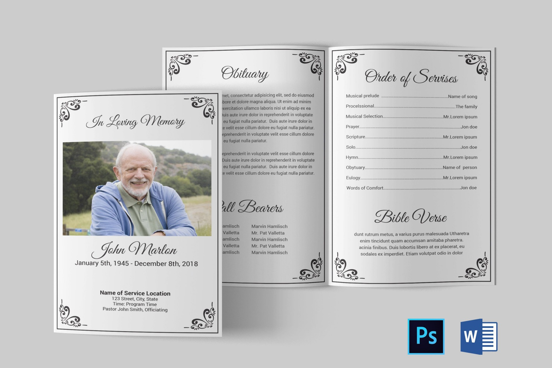 Editable Funeral Program Template Free Download