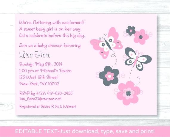 Editable Girl Baby Shower Invitations Templates Free