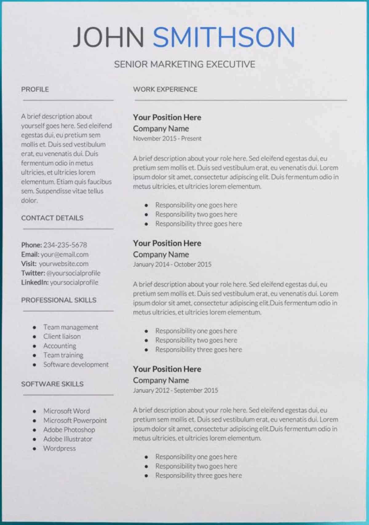 Editable Google Docs Resume Template
