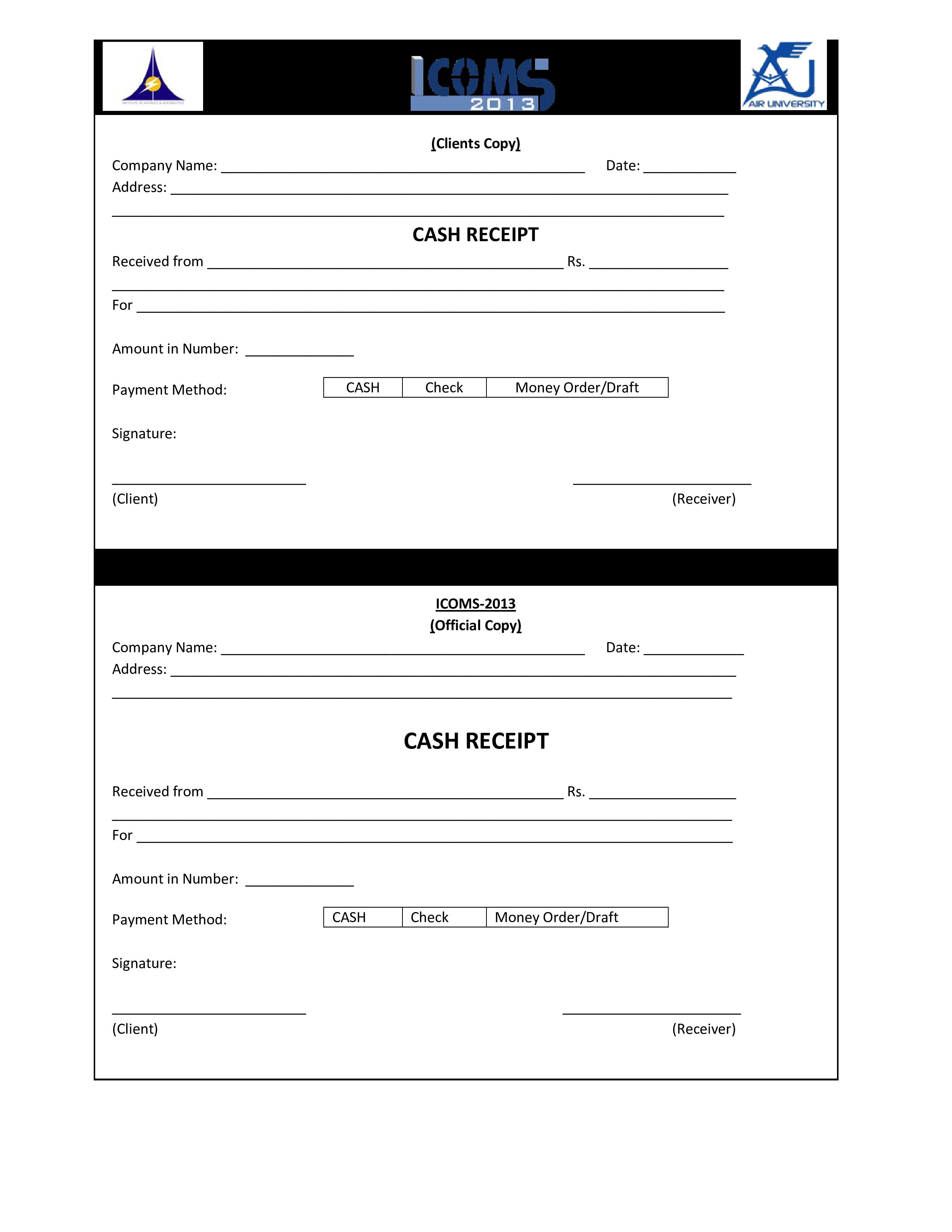 Editable Printable Cash Receipt Template Free