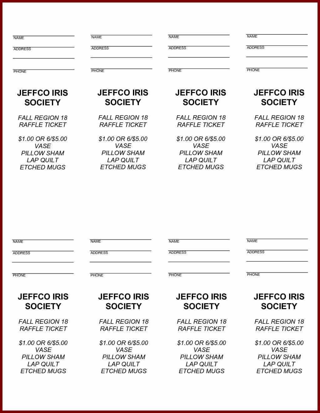 Editable Printable Raffle Tickets Template
