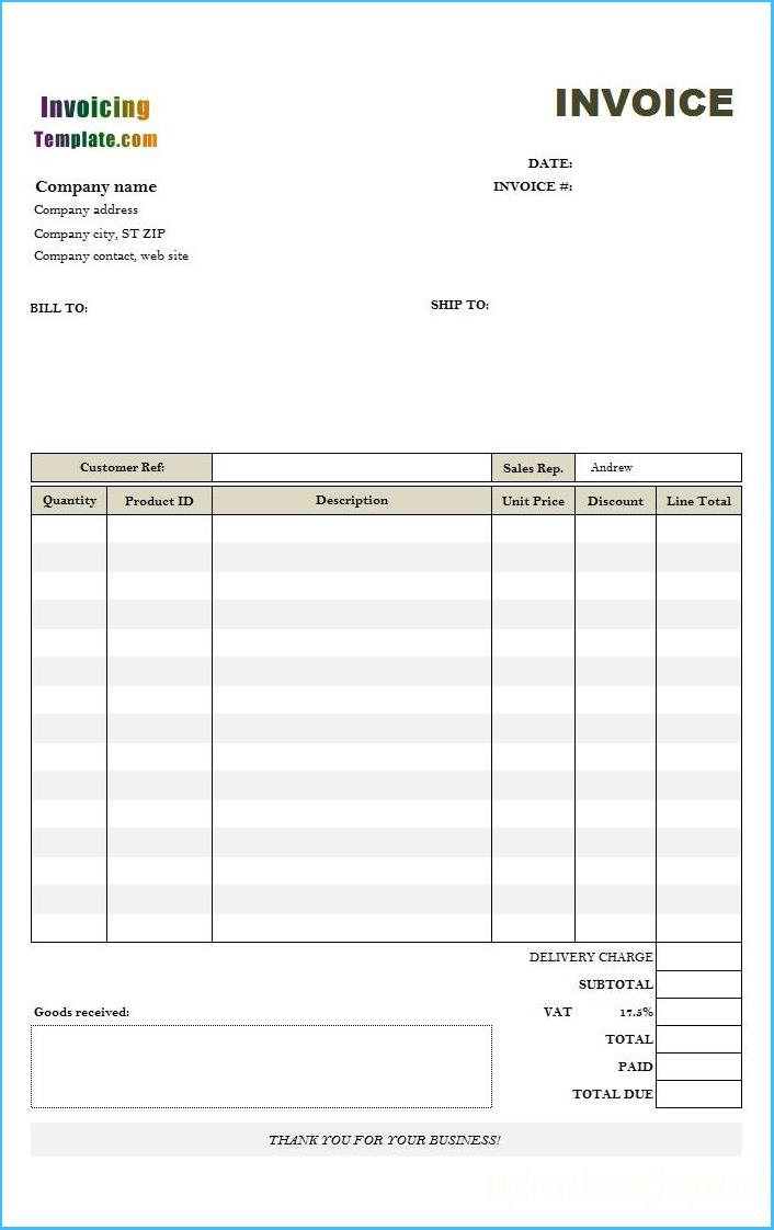 Editable Sales Invoice Template Pdf