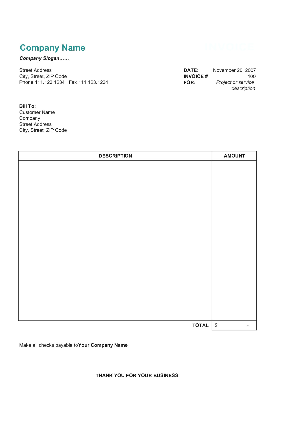 Editable Simple Invoice Template Pdf
