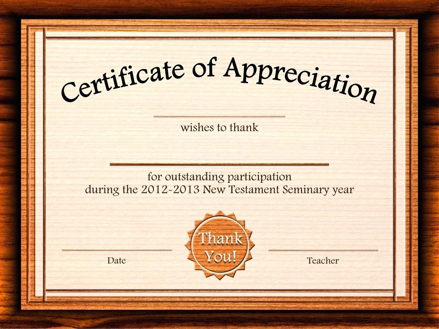 Editable Templates For Certificates Of Appreciation
