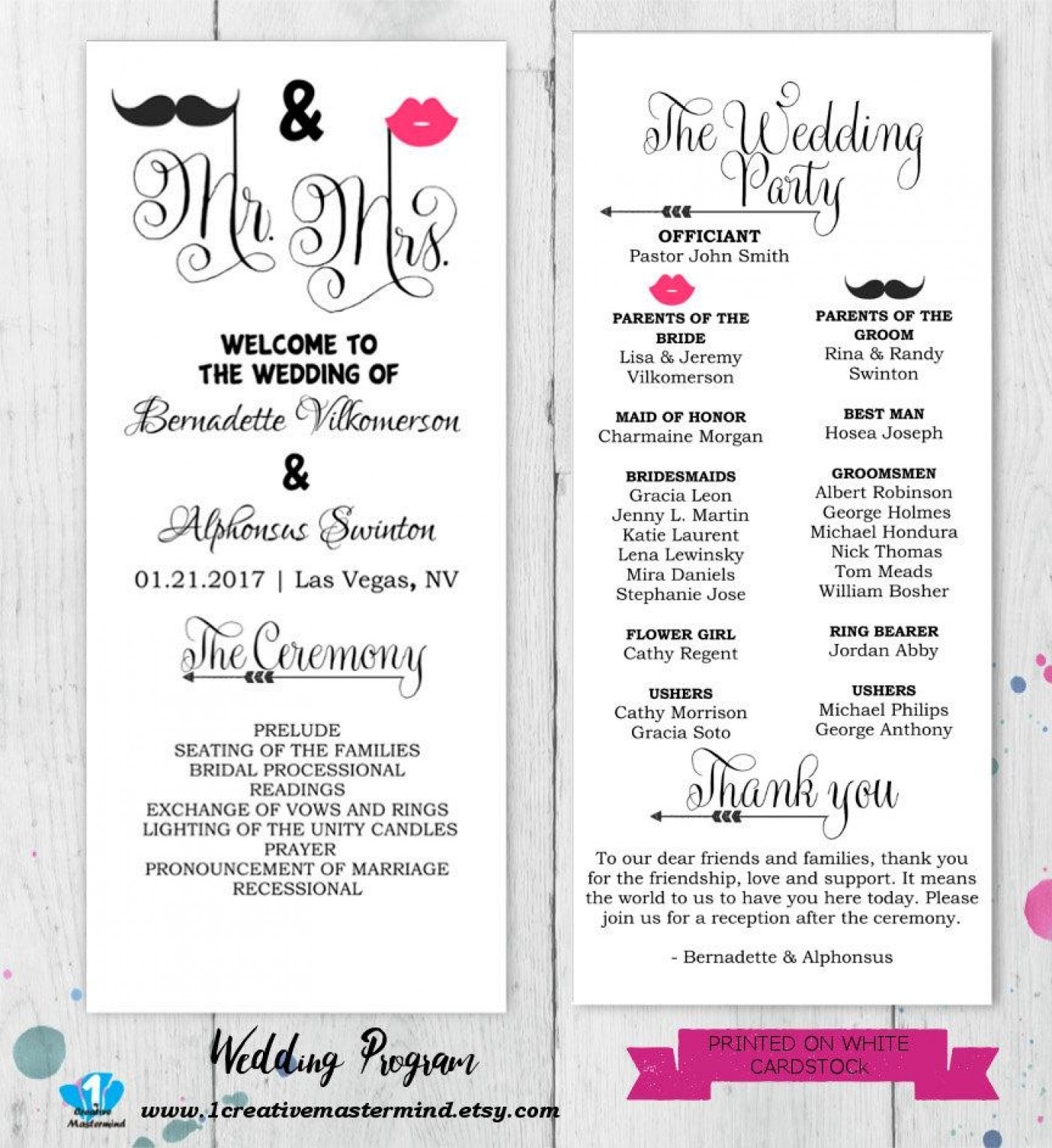 Editable Wedding Program Templates Free Download