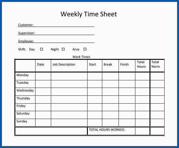 Editable Weekly Timesheet Template Free