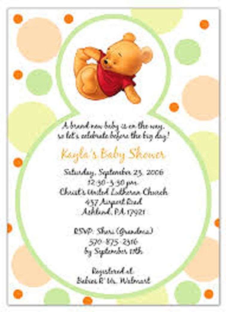 Editable Winnie The Pooh Baby Shower Invitations Templates
