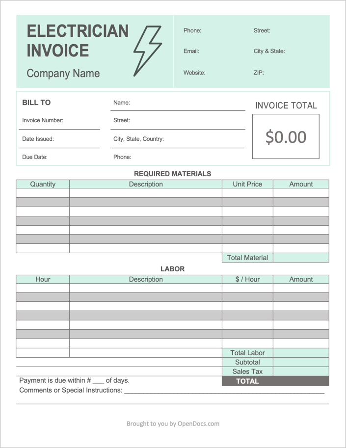 Electrician Invoice Template Word
