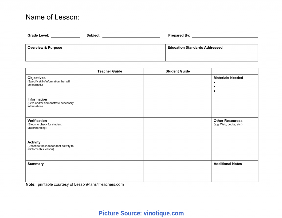 Elementary Pe Lesson Plan Template
