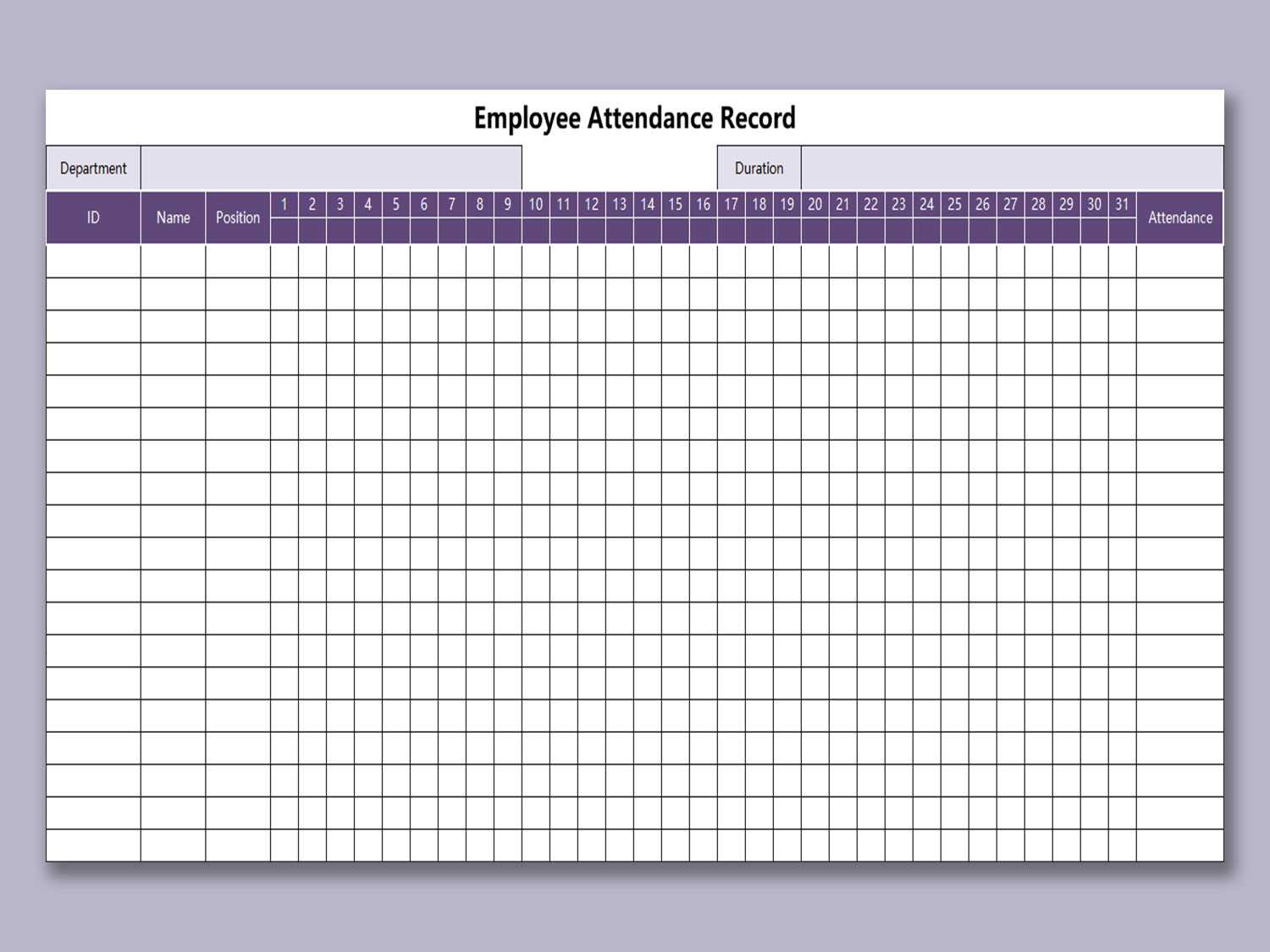 Employee Attendance Record Template Excel Free Download