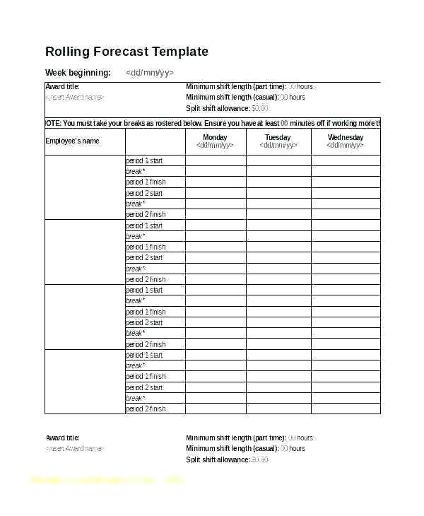 Employee Break Schedule Template Excel