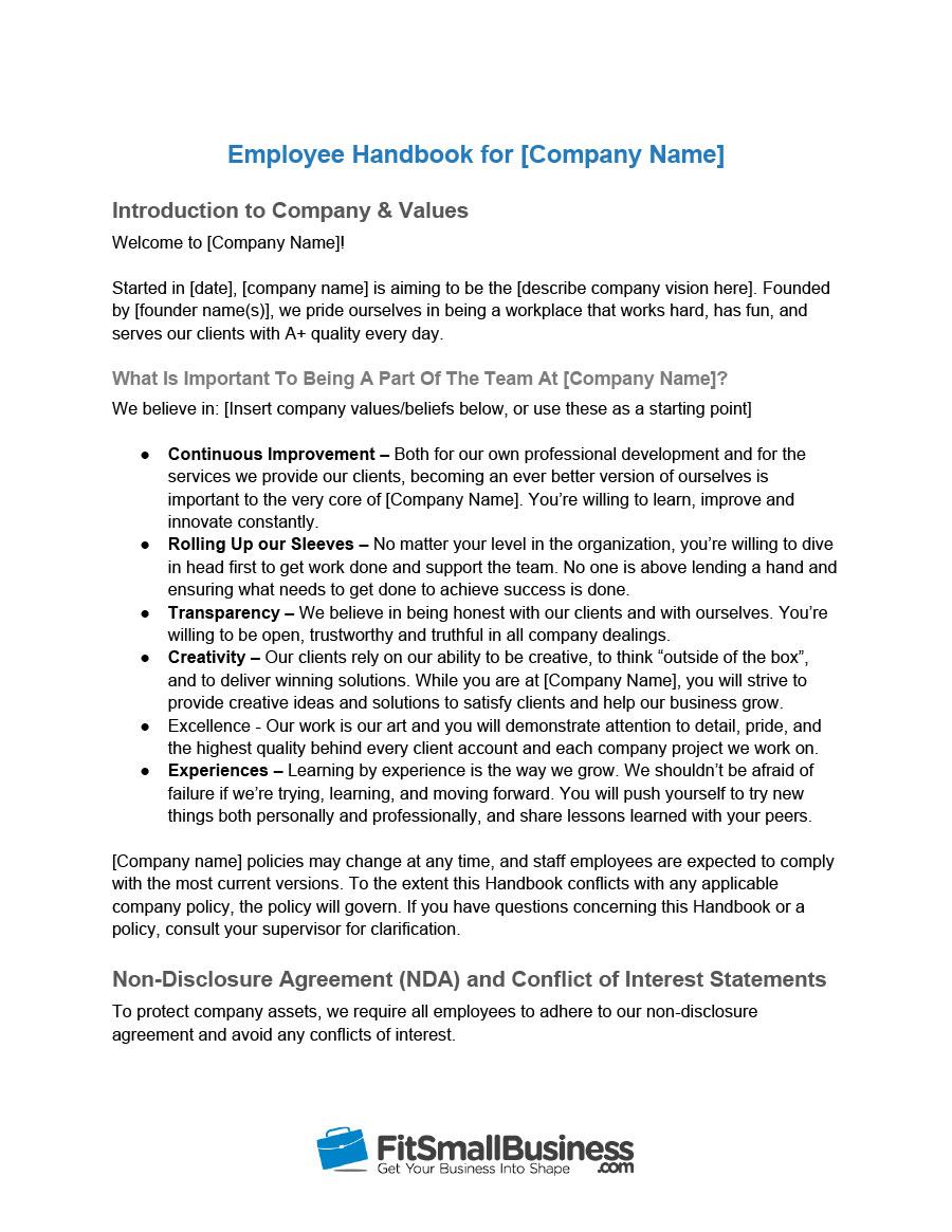 Employee Handbook Templates