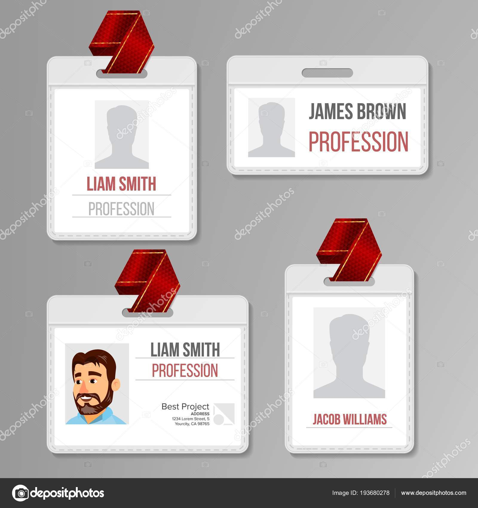 Identification Badge Set Vector. Id Card Blank. Name Template Profile Holder. Employee Identity. Human Badge Design. Person Isolated Illustration