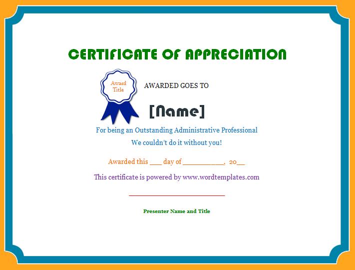 Employee Template Certificate Of Appreciation