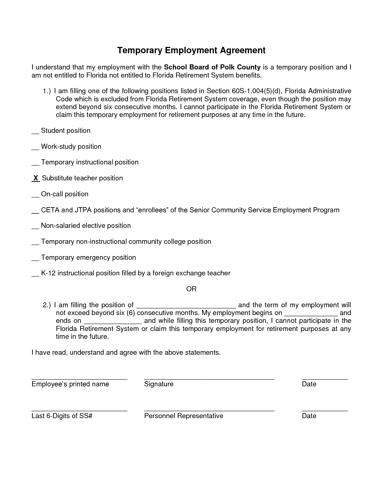 Employee Temporary Employment Contract Template