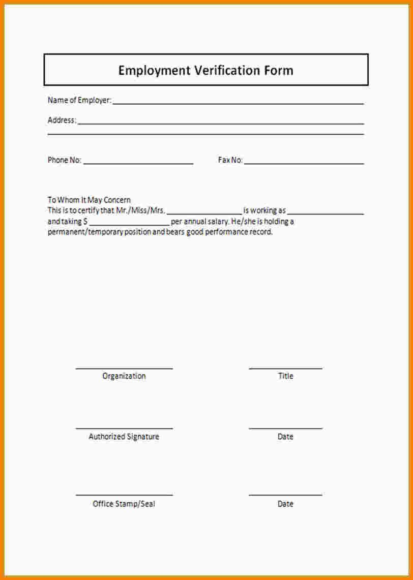 Employee Verification Form Template