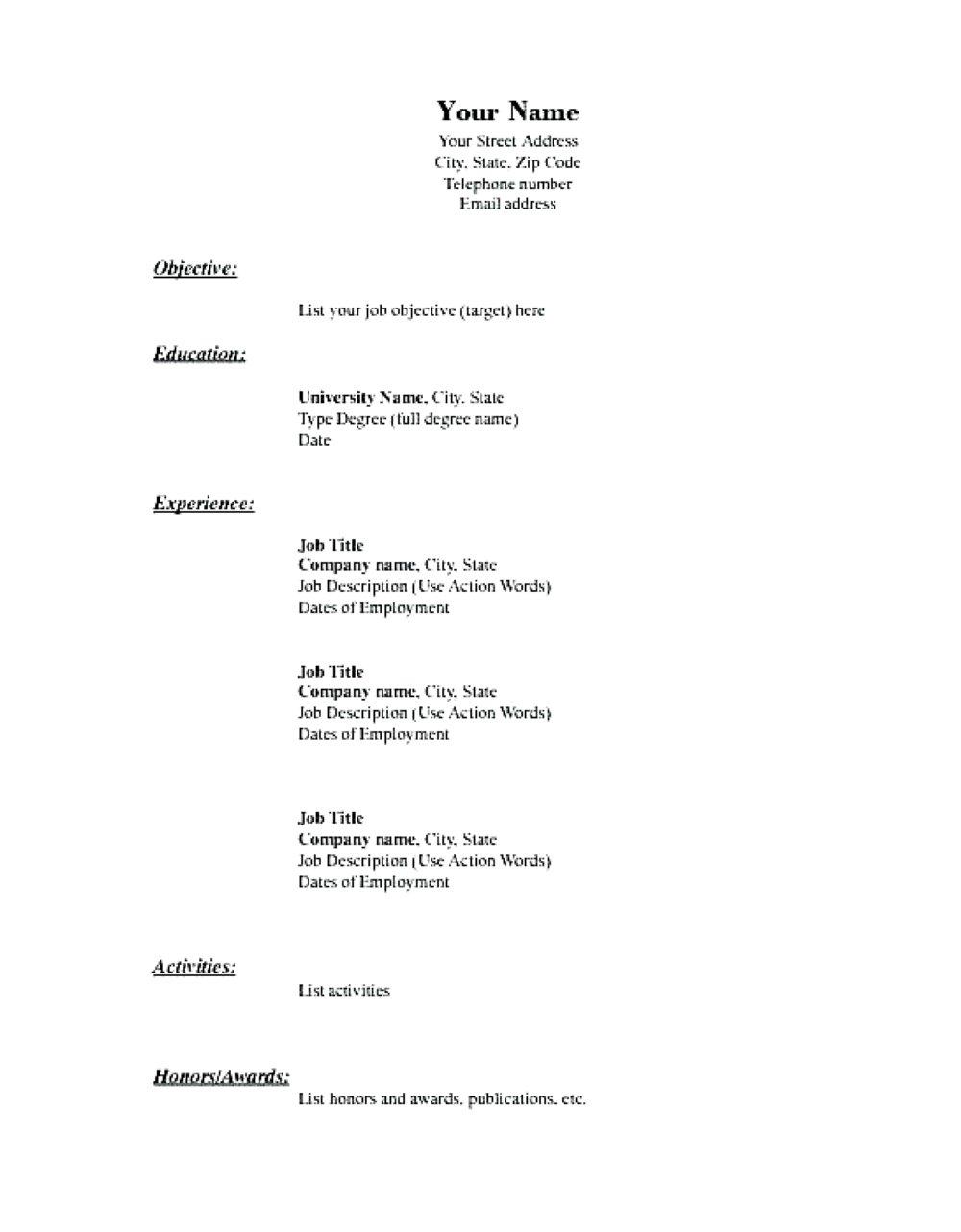 Empty Resume Template Word