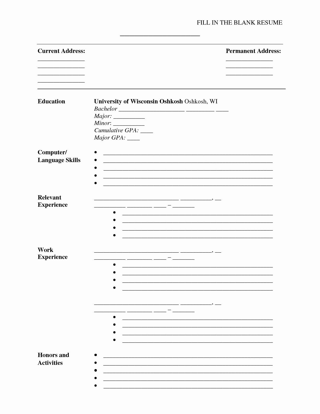 Empty Resume Templates