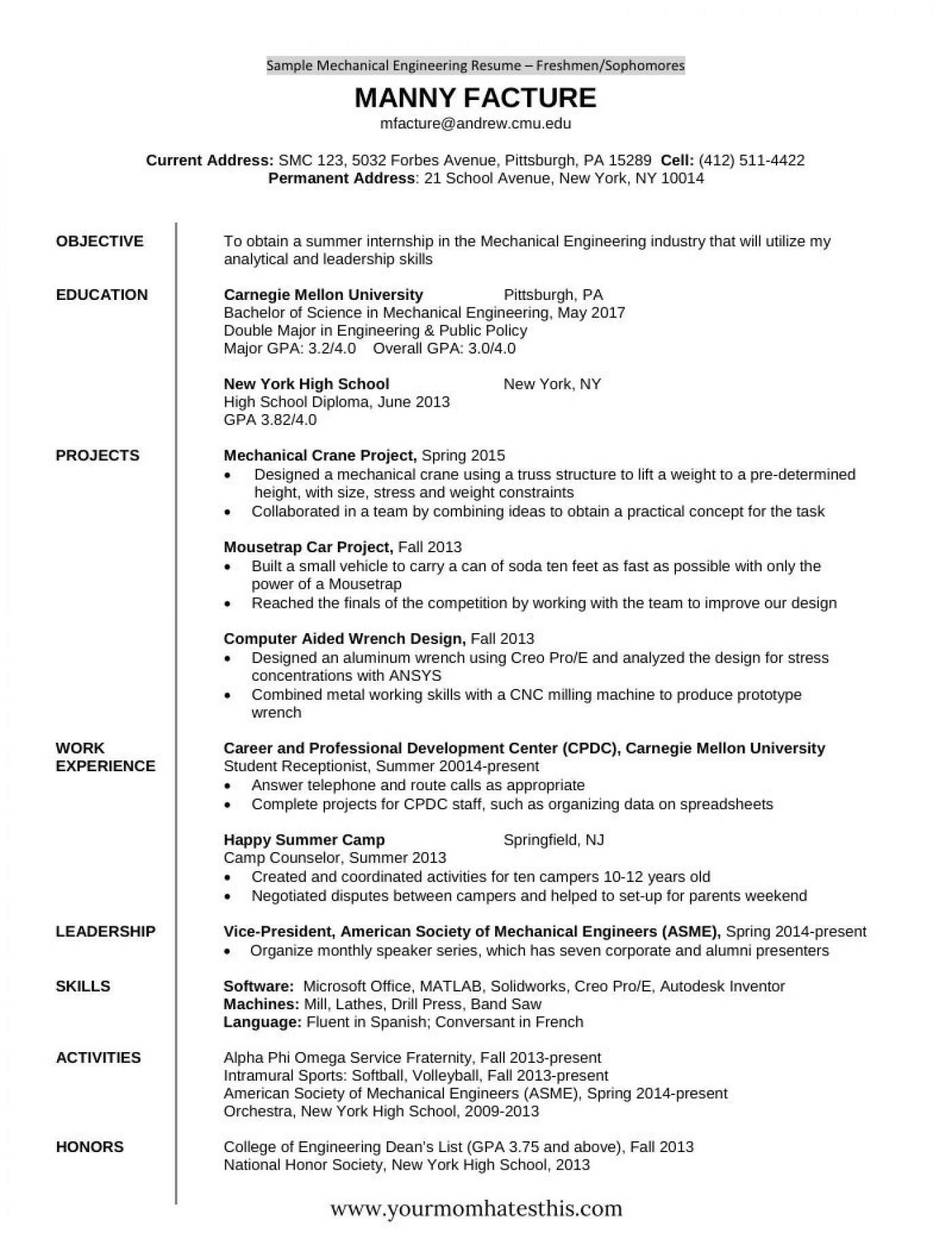 Engineering Fresher Resume Templates