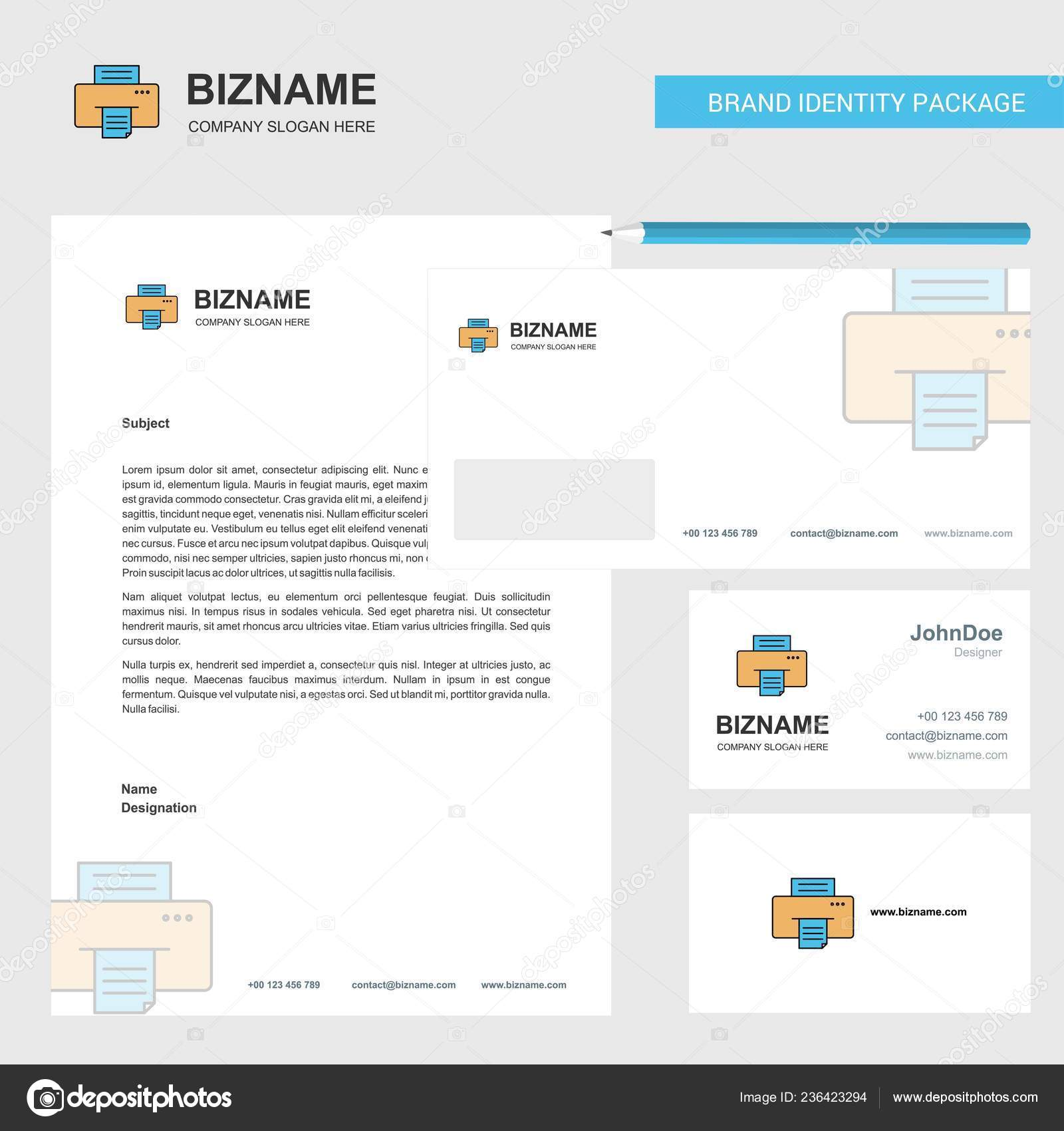 Printer Business Letterhead, Envelope And Visiting Card Design V
