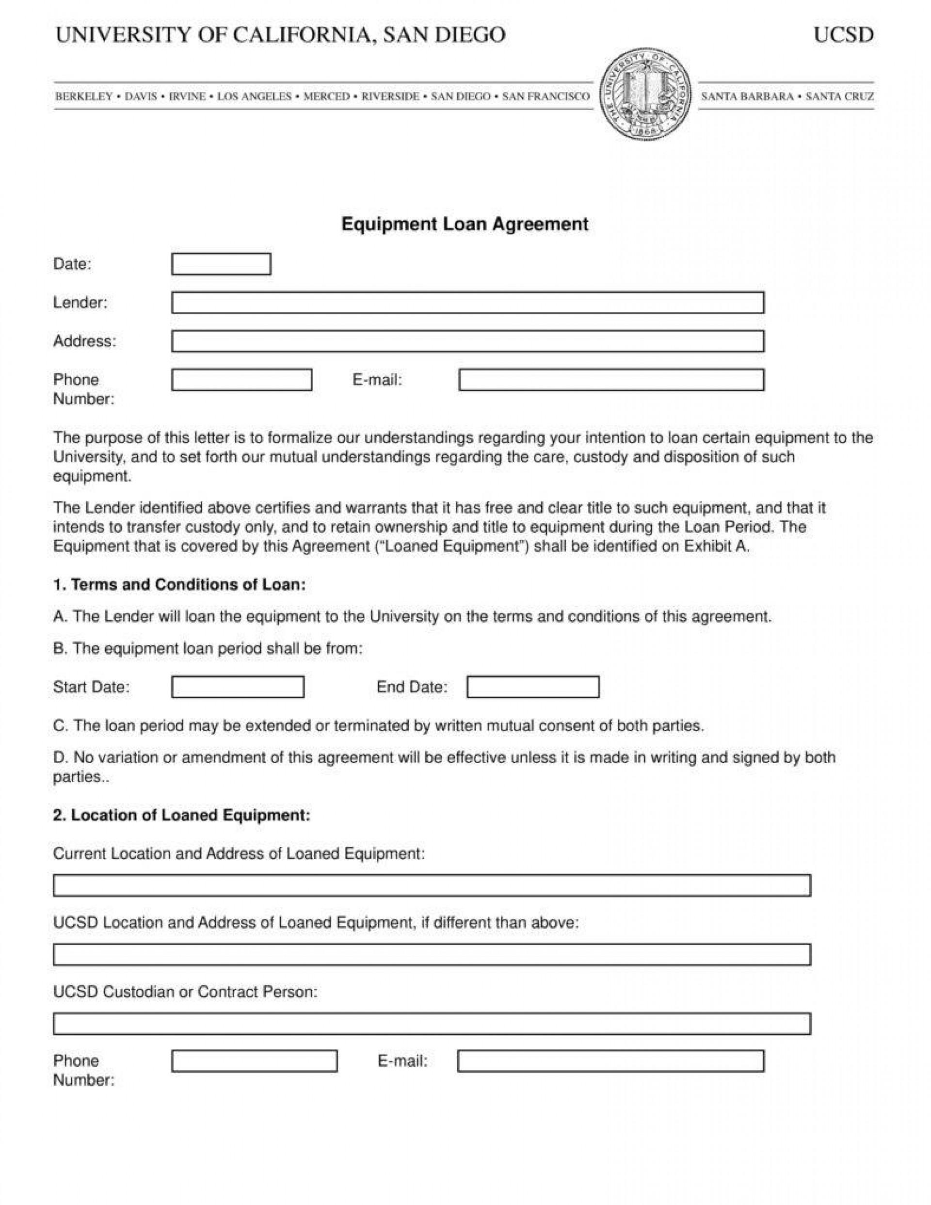Equipment Loan Agreement Template Uk