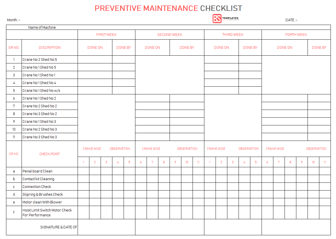 Equipment Preventive Maintenance Checklist Template