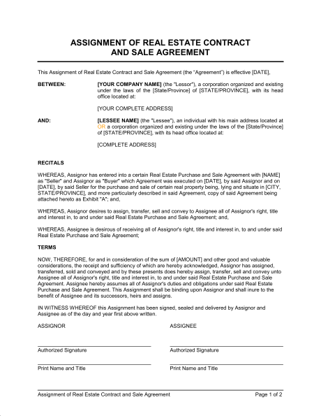 Estate Sale Contract Template