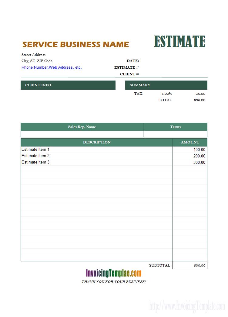 Estimate Invoice Template Excel