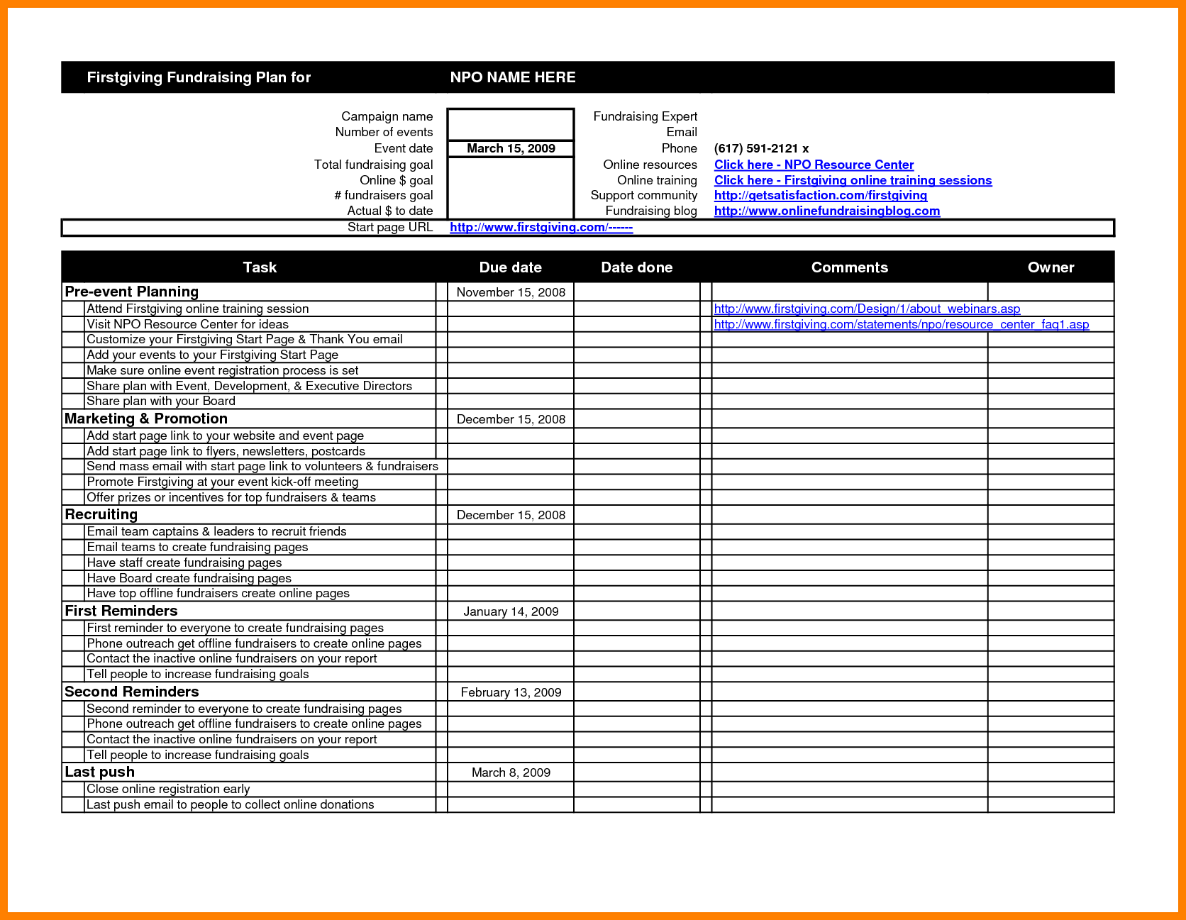Event Planning Spreadsheet Template Excel