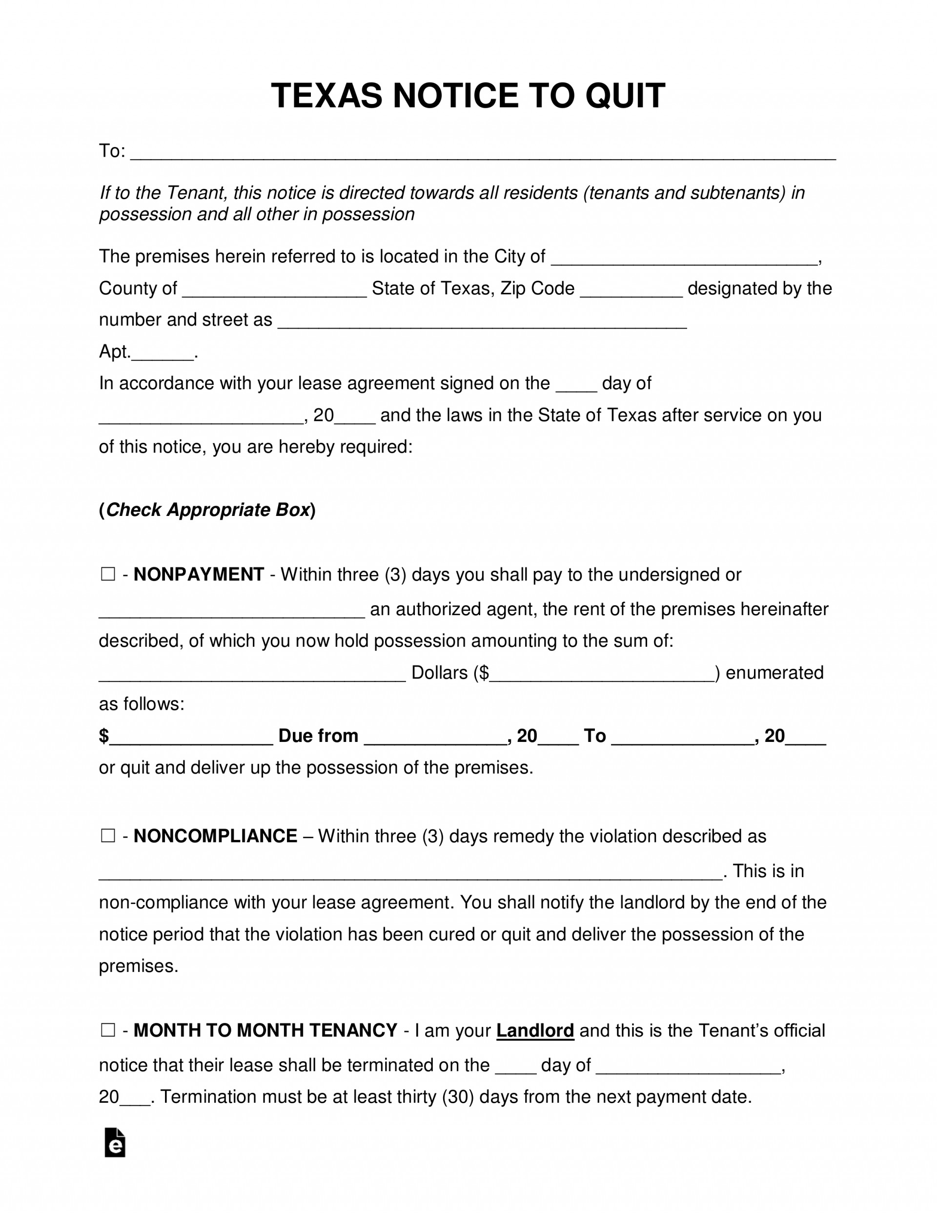 Eviction Notice Form Texas Template