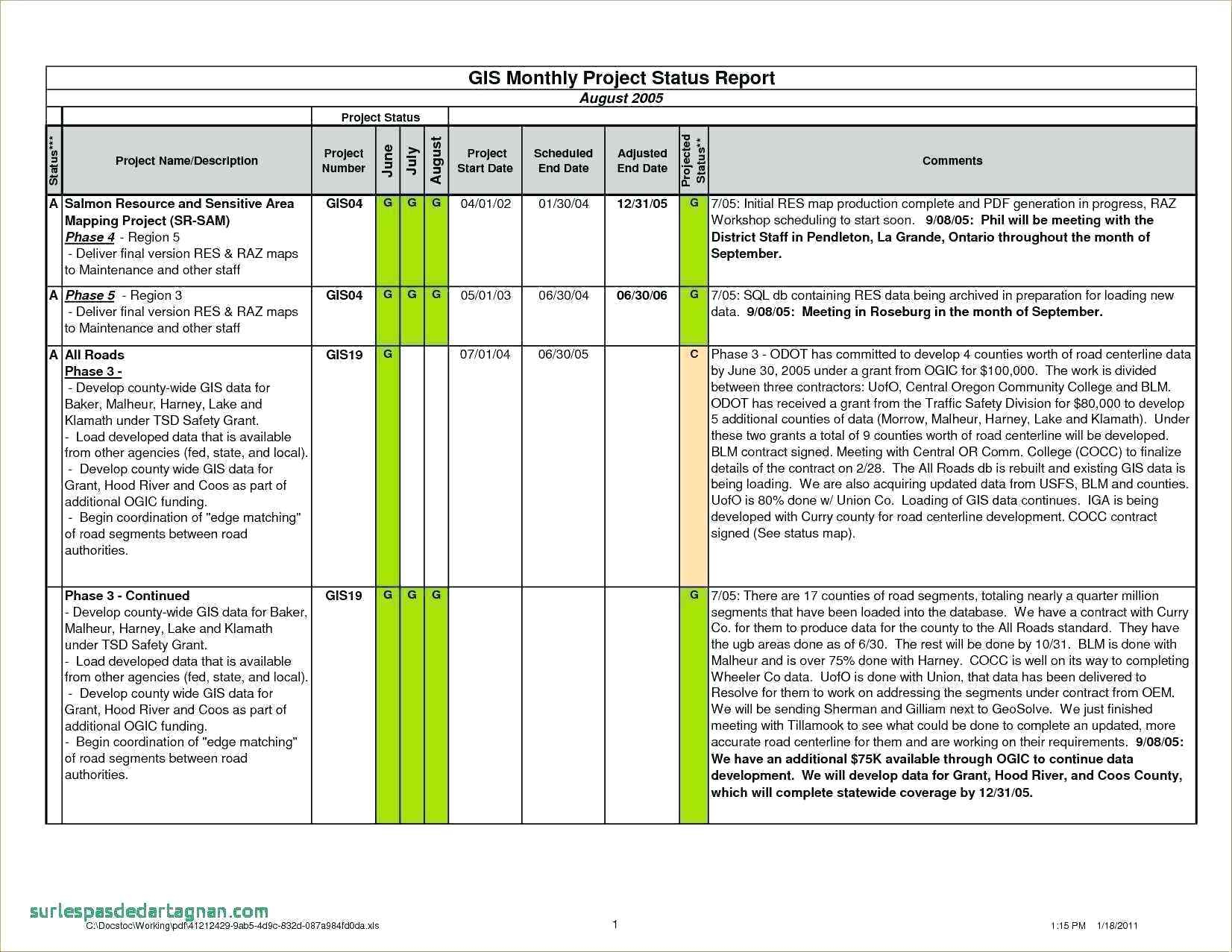 Excel Monthly Project Status Report Template