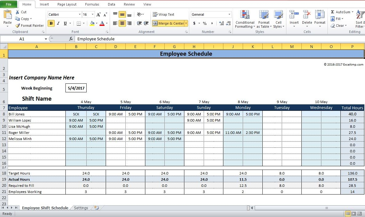 Excel Shift Work Schedule Template