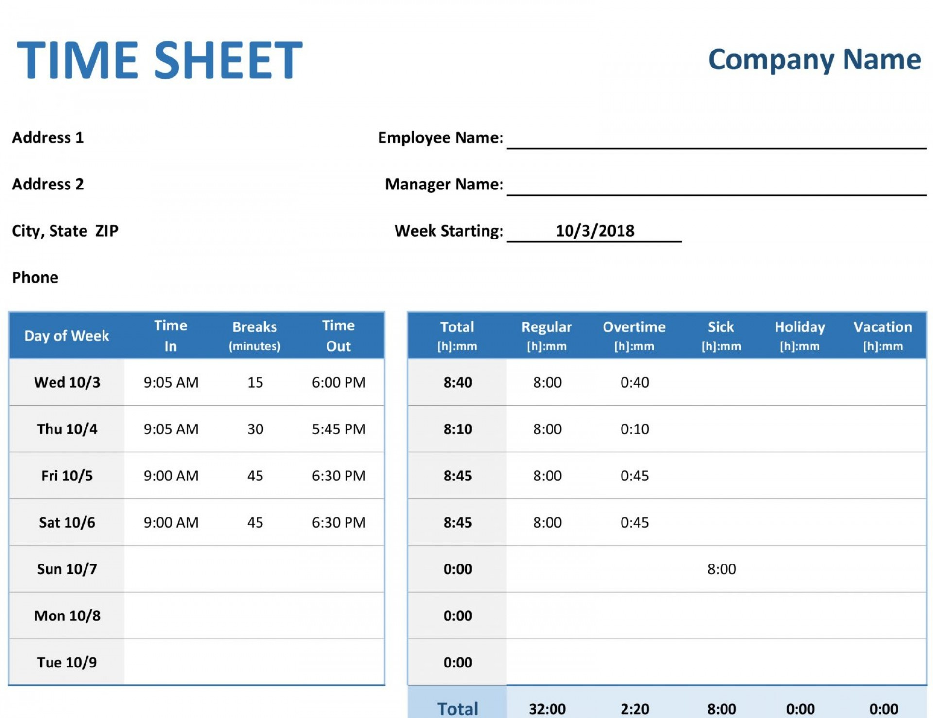 Excel Spreadsheet Timesheet Template