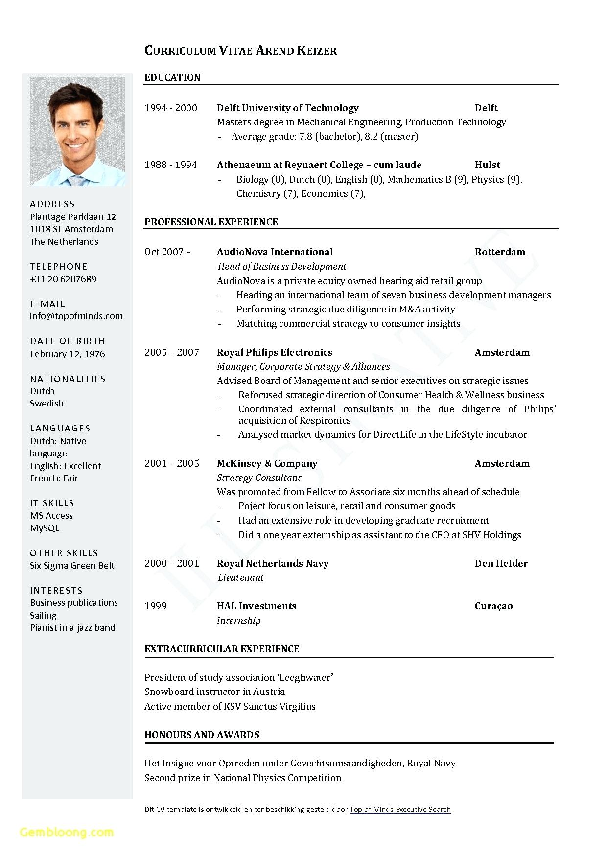 Executive Cv Template Word Uk