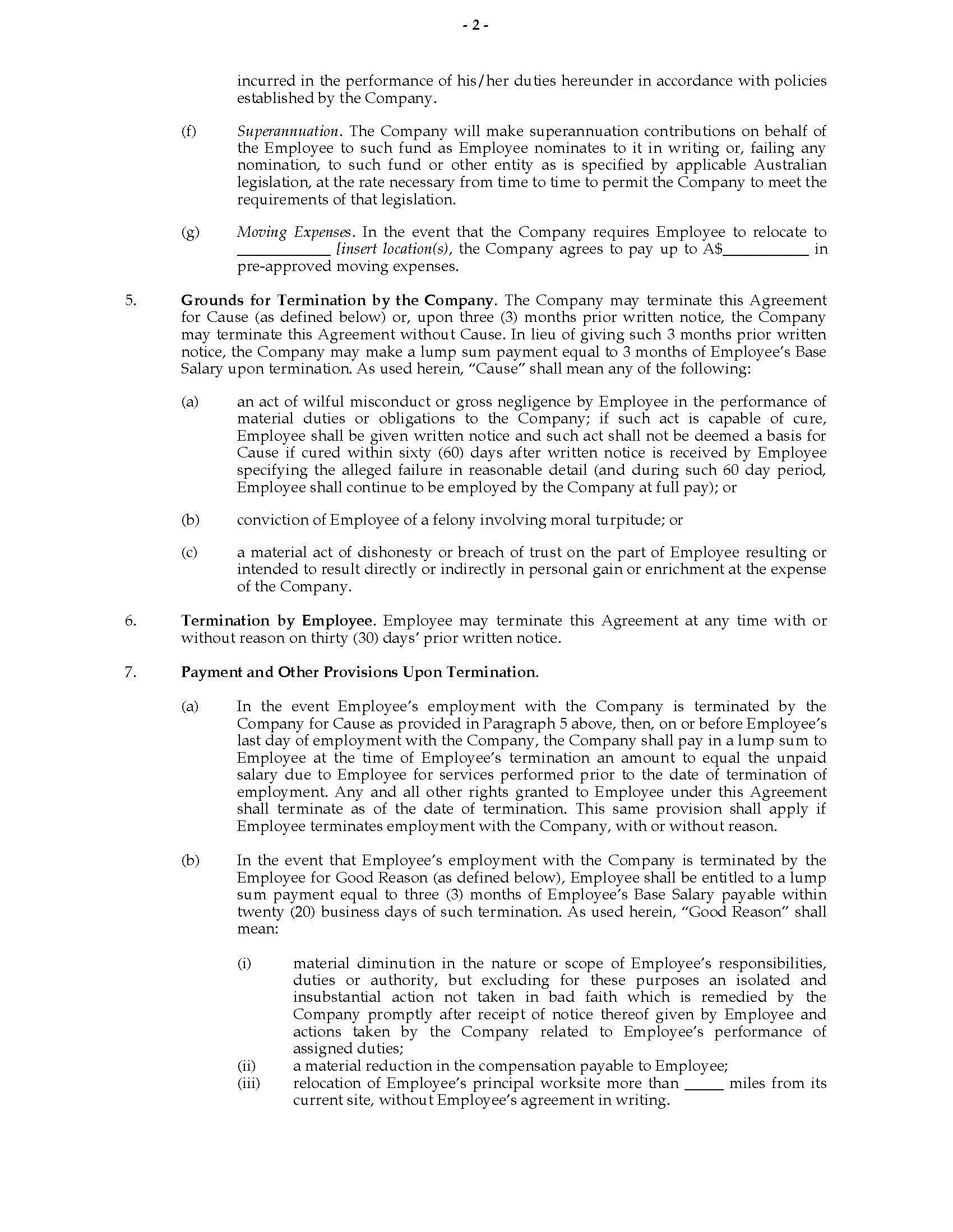 Executive Employment Contract Template Australia