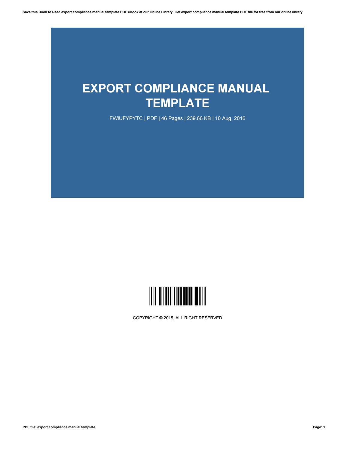 Export Compliance Manual Template