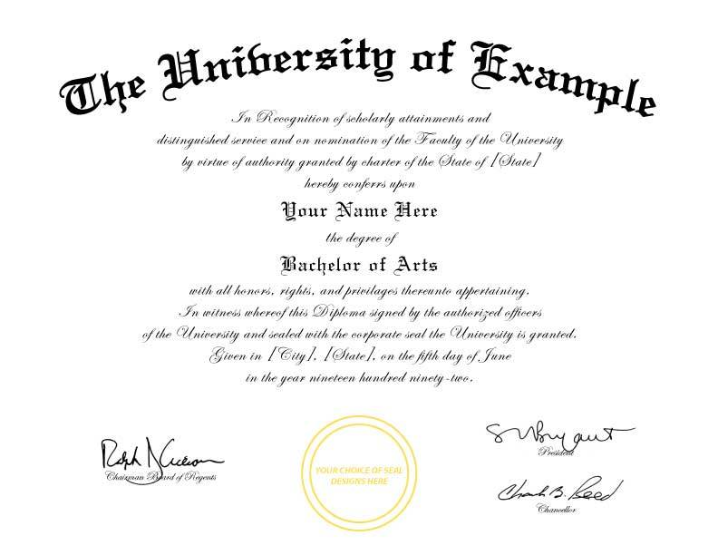 Fake College Diploma Template Free
