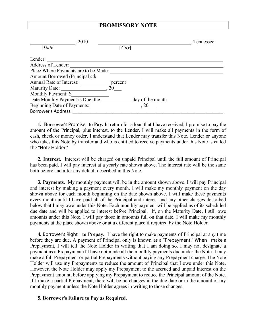 Family Member Promissory Note Template