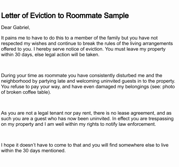 Sample Eviction Letter To Family Member Awesome Fancy Roommate Eviction Notice Template Adornment Professional
