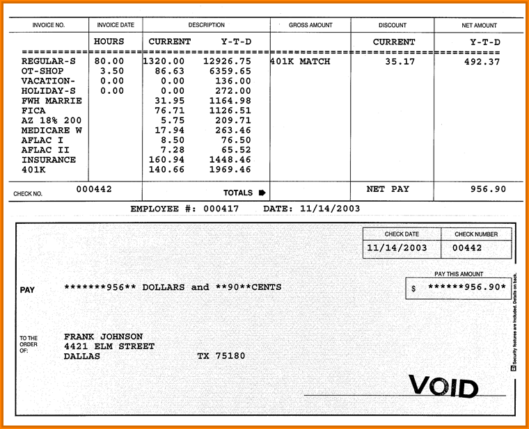 Fillable Quickbooks Pay Stub Template