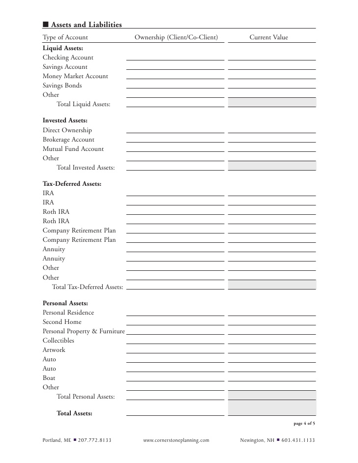 Financial Planning Questionnaire Template