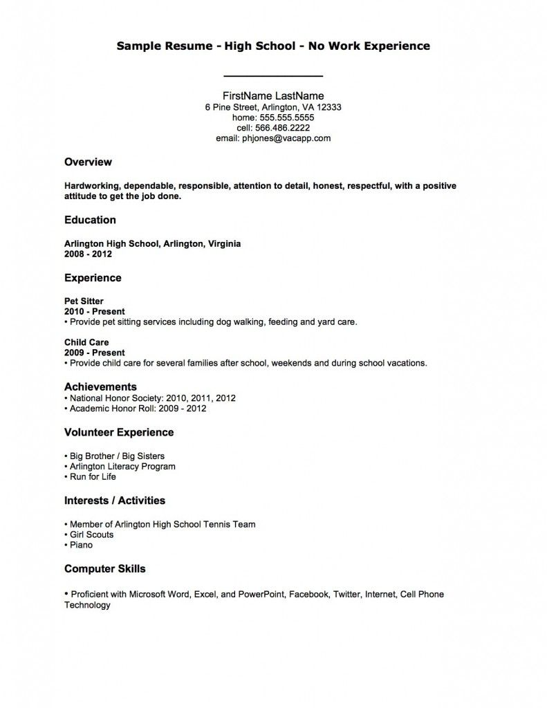 First Job Basic Resume Template