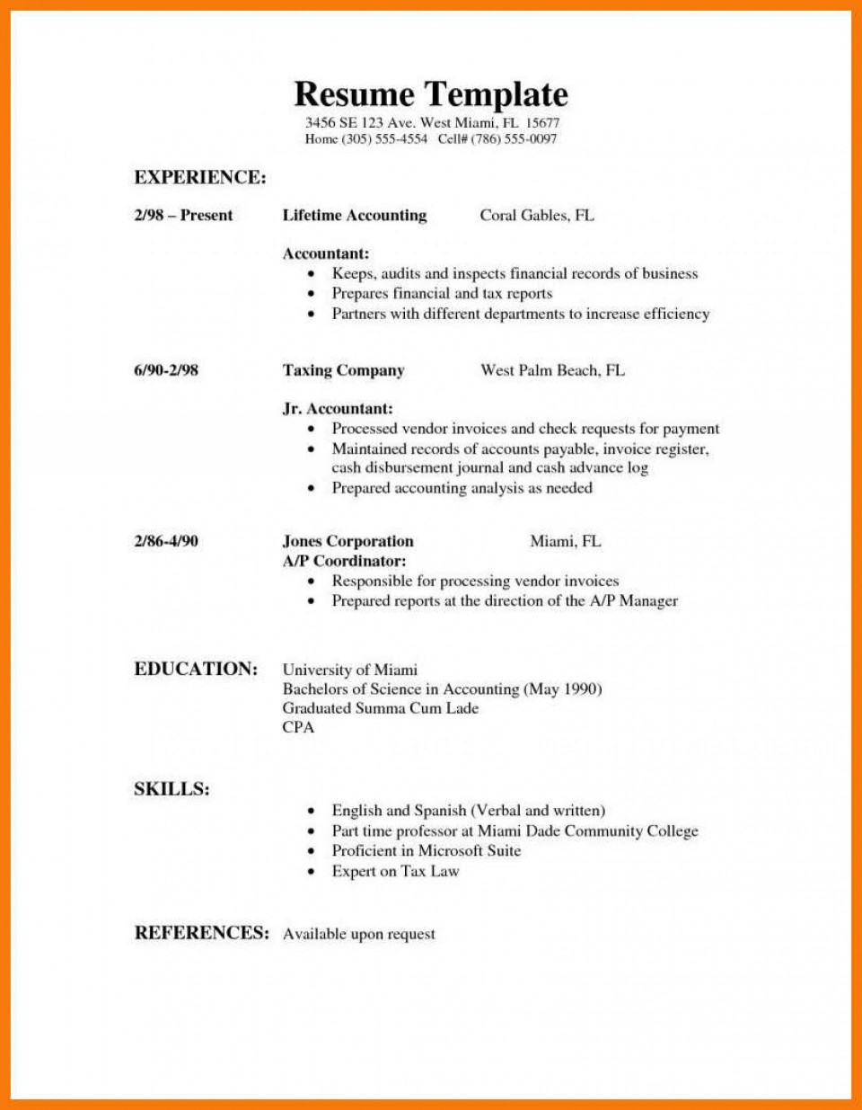 First Job Free High School Resume Template