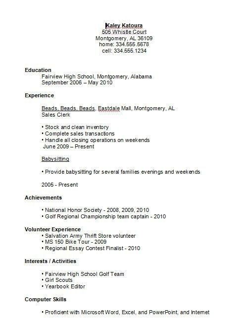 First Job Resume Template For High School Student