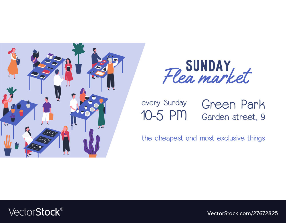Flea Market Flyer Vector Template. Rag Fair Invitation, Event Announcement. Swap Meet, Junk Bazaar Flat Illustration. Buyers And Sellers Faceless Characters. Leaflet, Banner Design.